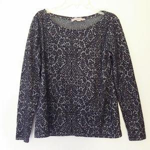 Loft Black & Gray Damask Sweater